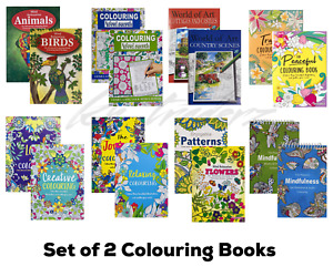 Adult Colouring Books Colour Therapy Anti-Stress  Books Stress Release Set of 2
