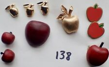 Red Apple Pinbacks Lapel Pins lot of 10 vintage Gold &