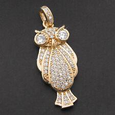 OWL Design Simulated Diamond 24k GOLD Layered Charm Pendant +LIFETIME GUARANTEE