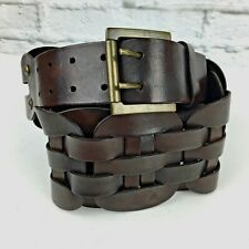 Antoniazzi Firenze womens belt M Italy leather woven wide width dark brown