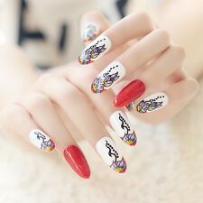 Big Red Lotus Long False Nails Glitter 24pcs/set Full Cover White Nail Tips