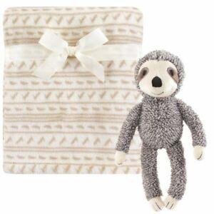 Hudson Baby Boy and Girl Plush Blanket with Plush Toy Set, Sloth
