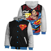 SUPERMAN Super Man Bomber Jacket Jumper Coat Hoodie Embroidered Quilted lined