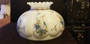 "Vintage 14"" Bulbous Blur Flower White Milk Glass Hurricane Parlor Lamp Shade"