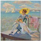 "Stunning Coastal Themed Classic Art ~ Edward Cucuel Dock ~ CANVAS PRINT 12x12"""