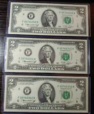 Lot of 3 1976 $2 dollar consecutive serial numbers