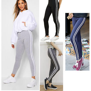 TWO PACK Ladies Skinny Stretch Joggers STRIPED Jogging Gym Yoga Bottom Tracksuit