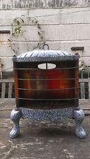 Antique Gas Burner Heater Parlor Stove Granite Ware Blue Speckle Enamel Copper