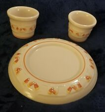 Set of Longaberger Candy Corn Pillar (1) & Votive (2) Candleholders