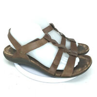 Abeo Women's B.I.O. System Bea Braid Leather Strap Brown Sandals Size 9