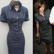 UK 10 Karen Millen Navy Pinstripe Military Shirt Dress Office Formal Cocktail