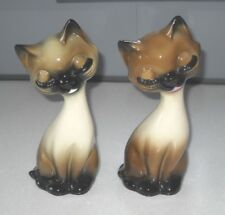 VINTAGE RETRO 1960s KITSCH FUNKY TWO CAT CERAMIC FIGURINES VERY STYLISH