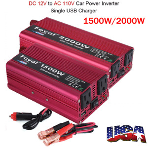 Portable Car Power Inverter DC 12V to AC 110V Charger Converter W/ Dual Outlets
