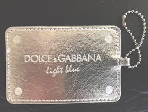 Large silver Dolce Gabbana light blue Key Fob Charm Hang tag keychain