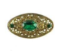 "Antique Czech Deco Gold  Filigree Oval 2 Tier Emerald Green Rhinestone Pin  2"""