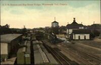Woodstock Ontario GTR RR Train Station Depot c1910 Postard