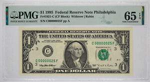 1995 $1 FEDERAL RESERVE NOTE PHILADELPHIA FR#1921-C PMG 65 EPQ LOW SERIAL 25