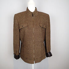 TAHARI BLAZER,Ladies SUIT Jacket,TOP 16 tweed zip wool blend faux leather tri ir