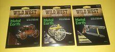 (3) 3D Metal Earth~The Wild West~Brand New~Stagecoach, Gatling Gun & Revolver