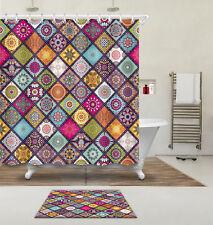 72x72'' Islam Damask Bathroom Waterproof Fabric Shower Curtain Bath Mat 5101