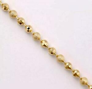 """9K 9ct Yellow """"Gold FILLED"""" Beaded Heart & Bell ANKLE CHAIN / ANKLET 10.6"""" Gift"""