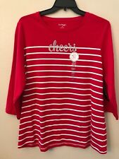 NWT Kim Rogers Women's Plus 2X Red White Striped Sparkle Cheers Cute Blouse