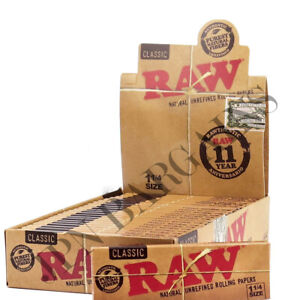 RAW King Size Slim Classic Rolling Papers Full Box Of 50 Packets Genuine