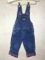 Vintage Oshkosh Bgosh Fleece Lined Denim Bib Overalls Toddler Girl 3T vestbak