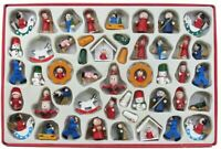 Christmas: Kurt Adler Petite Treasures Wooden Ornament Set of 48 in Gift Box WOW