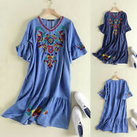 ZANZEA Women Short Sleeve V Neck T-Shirt Dress Flared Sleeve Mini Dress Plus