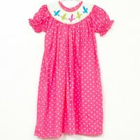Bella Nova Boutique Smocked Dress 4 Girls Pink Polka Dot Fleur De Lis Long