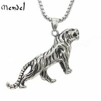 MENDEL Mens Tiger Pendant Necklace Stainless Steel Chain Silver Biker Jewelry