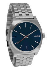 Nixon A0452340 Time Teller All Gunmetal Dark Blue Stainless Steel Watch New