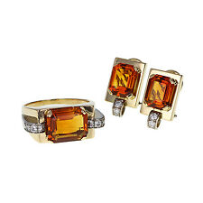 Retro Citrine Diamond Ring and Earring Set