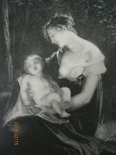 """Antique Engraving, """"Ottilia and the Child"""", Goethe's """"Elective Affinities."""" from"""