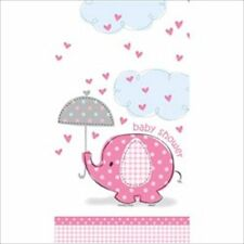 UMBRELLA ELEPHANT GIRL PLASTIC TABLE COVER ~ Baby Shower Party Supplies Cloth