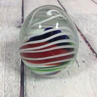 "Glass Paperweight Oval Egg Shaped Decorative Multi Color Design - 3.5"" T / N2"