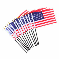 12 Pcs USA Stick Flag Hand Held Small American US Mini Flags On International