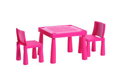 ABC Alphabet Childrens Pink Plastic Table and 2 Chairs Set Kids Toddlers Childs