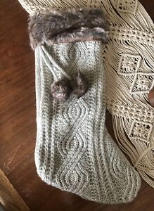 """Ashland 20"""" Faux Fur Gray Cable Knit Christmas Stocking w/ Pompoms"""