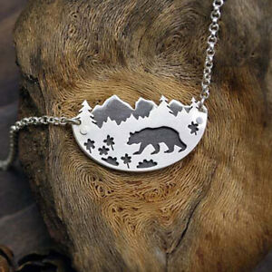 Cute Animal Bear Pendant Women 925 Silver Chain Necklace Forest Landscape Gift