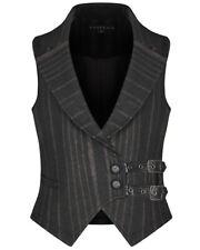 Punk Rave Mens Steampunk Waistcoat Vest Black Brown Stripe Gothic VTG Victorian