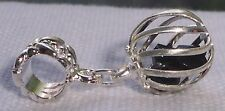 Caged Solid Black Faceted Crystal Dangle Charm for Silver European Bead Bracelet
