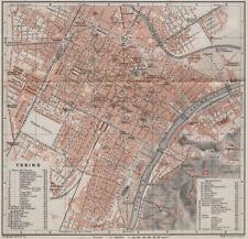 TORINO TORINO Antica Città City PIANOFORTE piano urbanistico. ITALIA mappa 1909