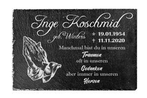 Grabplatte, Gedenktafel aus Schiefer, mit individueller Gravur (20 x 30cm)