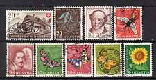 Swiss: Nice Selection of 9-Used 1949 to 1961 Semi Postal Issues (Reduced Post)