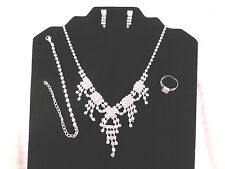 Silver Plated Rhinestone Bridal Dazzling Necklace, Earrings, Bracelet, Ring Set