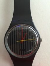 Vintage 80s SWATCH WATCH Gray Striped Face
