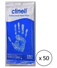 50x SALVIETTE CLINELL ANTIBATTERICO a mano-igienizza disinfetta pulisce Rinfresca NUOVO