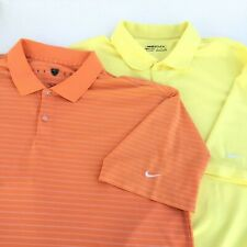 Nike Golf Dry-Fit Mens Size XL Yellow And Orange Golf Polo Shirt Short Sleeve